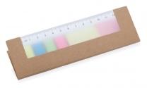 Samolepící papírky v papírovém obalu a pravítko