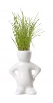 Dude keramický květináč se semínky trávy