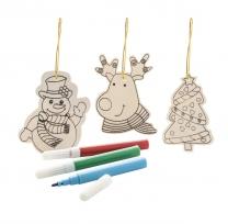 Vybarvovací ozdoby na vánoční stromeček, 3 ks