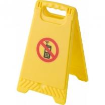 """Plastová výstražná cedule """"zákaz mobilů"""" se zrcátkem uvnitř"""