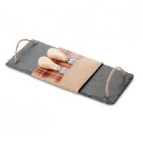Slate cheeseboard with 2 knive