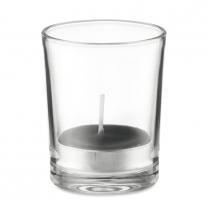 Svícen ze skla se svíčkou